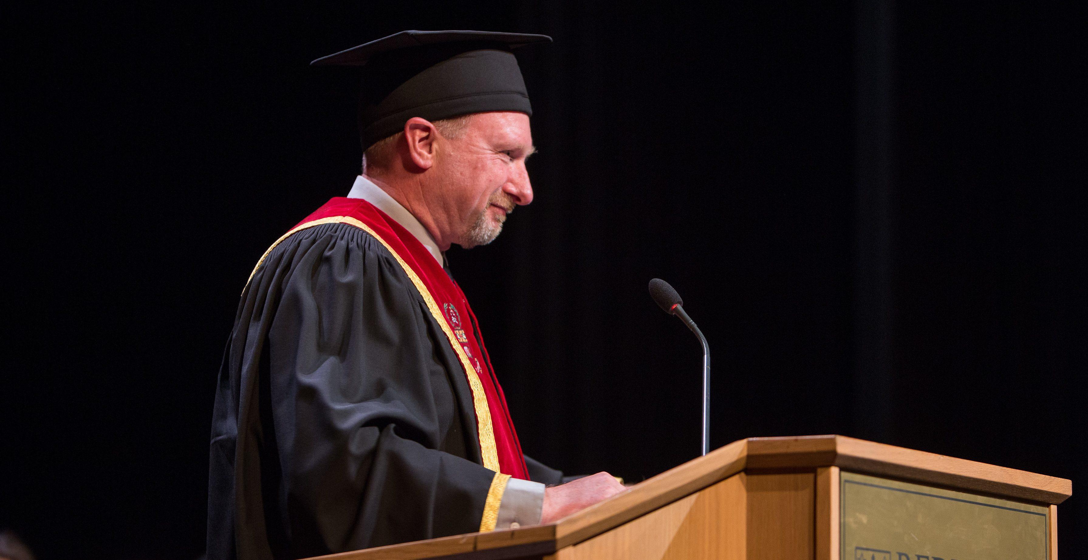 Fred Verwoerd delivering Convocation Address.