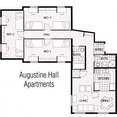 Three-bedroom Augustine Hall floor plan