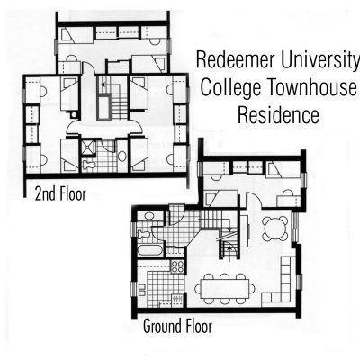 Two-bedroom Augustine Hall floor plan
